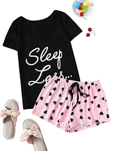 Floerns Women's Printed Short Sleeve Pajamas Top and Shorts Sets