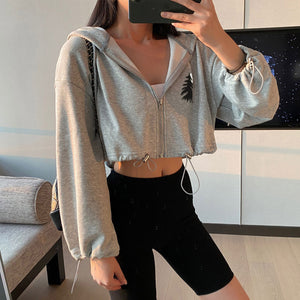Women's Long Sleeve Zip Up Hoodie Drawstring Jacket Casual Pockets Sweatshirt