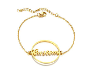 Personalized Name Bracelet for Women Girls Box Chain Links Stainless Steel Love Custom Bangle Gift