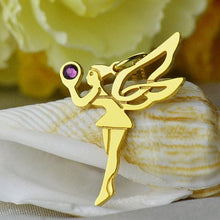 Load image into Gallery viewer, Fairy Birthstone Necklace for Girlfriend Gold Plated Silver 925