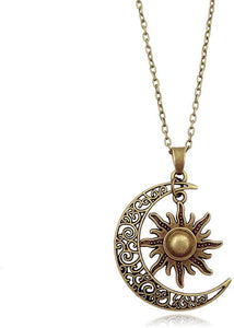 Bronze Crescent Moon and Sun Pendant Necklace Retro