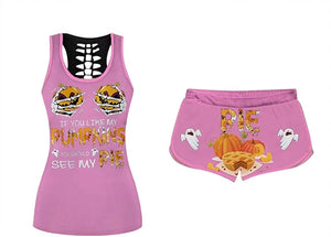 Women's Comfy O-Neck Halloween Elastic Drawstring PJ  Set (true to size)