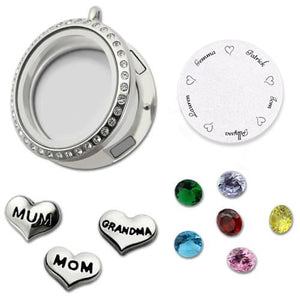 Customizable Engraved Floating Charm Locket For Mom or Grandma