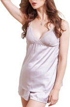 Load image into Gallery viewer, Women's pj Shorts Set Lace Satin Pajamas Set Cami Silky Lingerie pjs Nightwear