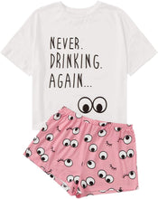 Load image into Gallery viewer, Women's Sleepwear Closed Eyes Print Tee and Shorts Pajama Set