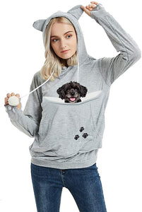Unisex Pet Carrier Hoodie Cat Dog Pouch Holder Sweatshirt Shirt Top