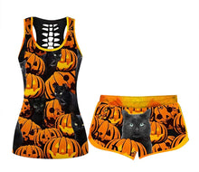 Load image into Gallery viewer, Women's Comfy O-Neck Halloween Elastic Drawstring PJ  Set (true to size)