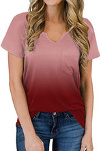Load image into Gallery viewer, Women's Short Sleeves T Shirt V Neck Basic Tee Cute Tops