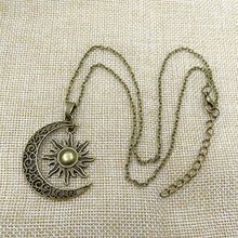 Load image into Gallery viewer, Bronze Crescent Moon and Sun Pendant Necklace Retro