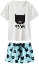 Load image into Gallery viewer, VENTELAN Pajamas for Women 2 Piece Cute Cat Sleepwear Pajama Sleep Set
