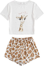 Load image into Gallery viewer, Floerns Women's Printed Short Sleeve Pajamas Top and Shorts Sets