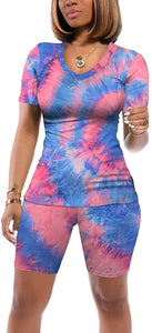 Sieanear Women 2 Piece Tie Dye Outfits V Neck Casual Tracksuits Shorts Sets