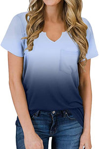 Women's Short Sleeves T Shirt V Neck Basic Tee Cute Tops
