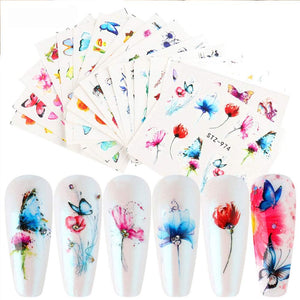 Butterfly Nail Art Sticker Decals Butterfly Bloom Flower Design Tulips, Retro Roses Printing Female Trend Nail Art Decoration Water Transfer Stickers Holographic DIY Nail Supplies (24Pcs)