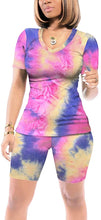 Load image into Gallery viewer, Sieanear Women 2 Piece Tie Dye Outfits V Neck Casual Tracksuits Shorts Sets
