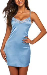 Women's Nightwear Sexy Satin Sleepwear Lace Chemises Mini Full Slip