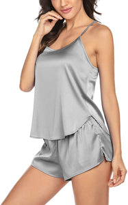 Pajamas Womens Sexy Lingerie Satin Sleepwear Cami Shorts Set Nightwear S-XXL