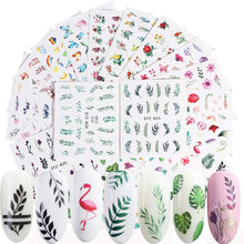 Load image into Gallery viewer, Butterfly Nail Art Sticker Decals Butterfly Bloom Flower Design Tulips, Retro Roses Printing Female Trend Nail Art Decoration Water Transfer Stickers Holographic DIY Nail Supplies (24Pcs)