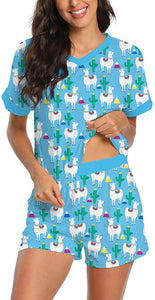 Womens Pajama Sets Summer Short Sleeves Pjs Sleepwear with Pockets