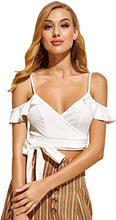 Load image into Gallery viewer, Women's Cold Shoulder Plunge Blouse Tie Waist Ruffle Wrap Crop Top Shirt