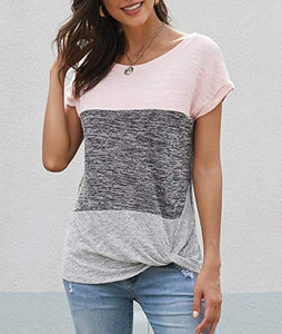 Women's Casual Color Block Crew Neck Top Loose Knot Side Shirts Blouses