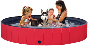 Red Foldable Hard Plastic Kiddie Baby Large Dog Pet Bath Swimming Pool Collapsible Dog Pet Pool Bathing Tub Kiddie Pool for Kids Pets Dogs Cats
