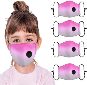 [4 - 6 PCS ] Kids Reusable Breathable Seamless Face Bandanas with Breathing Valve Dustproof