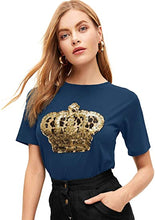 Load image into Gallery viewer, Women's Summer Round Neck Short Sleeve Sequin Graphic Print T-Shir