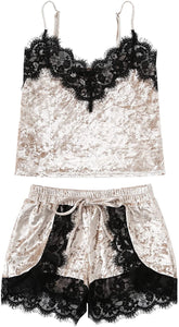 Women's Sexy Lace Sleepwear Cami Top and Shorts Velvet Pajama Set