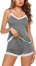 Load image into Gallery viewer, Women Cami Pajama Set Modal Sleepwear Lace Trim Short PJ Set with Shorts