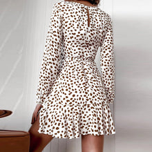 Load image into Gallery viewer, Women Dress Bandage Polka Dot Print Ruffles Deep V Neck Long Sleeved Dress Sexy Dress