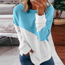 Load image into Gallery viewer, woman o-neck cotton tops long sleeve ladies moletom feminino patchwork moletom poleron mujer