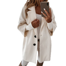 Load image into Gallery viewer, Autumn and Winter Three-Quarter Sleeve Vintage long coat women 2020 Elegant V-Neck Button Lapel Pocket Woolen Coat Women's