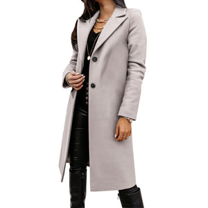 Autumn and Winter Three-Quarter Sleeve Vintage long coat women 2020 Elegant V-Neck Button Lapel Pocket Woolen Coat Women's