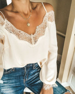 Women's casual lace blouse, v-neck off shoulder, casual, loose, outfit, new fashion summer