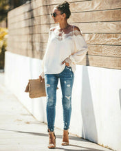 Load image into Gallery viewer, Women's casual lace blouse, v-neck off shoulder, casual, loose, outfit, new fashion summer