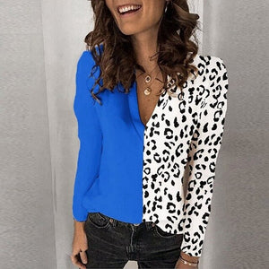 long sleeve leopard patchwork loose shirt plus size clothes for ladies blouses