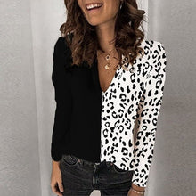 Load image into Gallery viewer, long sleeve leopard patchwork loose shirt plus size clothes for ladies blouses