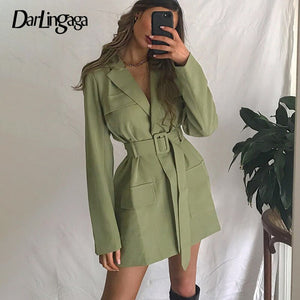 Darlingaga Fashion Elegant Solid Long Women's Trench Coat Pockets Ladies Autumn Winter Windbreaker Trench with Belt Outwear 2020
