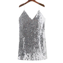 Load image into Gallery viewer, Deep V Neck Autumn Silver Sequined Backless Sexy Dress