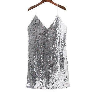 Deep V Neck Autumn Silver Sequined Backless Sexy Dress