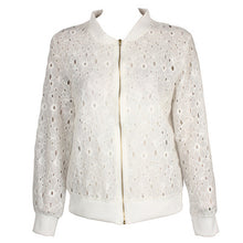 Load image into Gallery viewer, Dropship summer autumn coat female slim long sleeve white hole lace sunscreen jackets female short zipper tops jacket