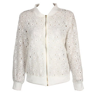 Dropship summer autumn coat female slim long sleeve white hole lace sunscreen jackets female short zipper tops jacket