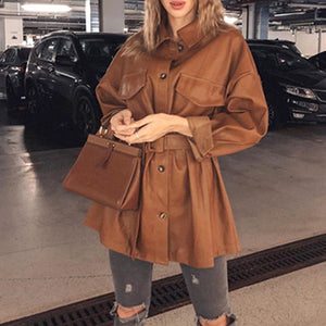 women's pu leather jackets fashion loose pockets long sleeve jackets