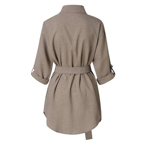 Women Belt Dresses Autum Long Sleeve Mini Dress