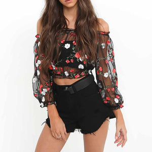 Mesh Flower Sexy Perspective Gauze Embroidery Word Shoulder Crop Top