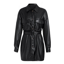 Load image into Gallery viewer, women's pu leather jackets fashion loose pockets long sleeve jackets