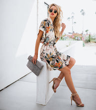Load image into Gallery viewer, Floral cape dress for women, bandge dress for summer