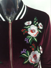 Load image into Gallery viewer, Womens bomber jacket flower animal embroidery velvet riverdale jackets