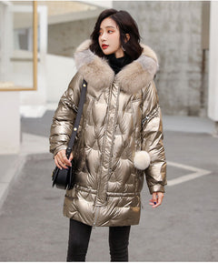 Janveny Large Natural Fox Fur Hooded Shiny Jacket 2020 New 90% Duck Down Coat Long Golden Female Winter Down Parkas Waterproof